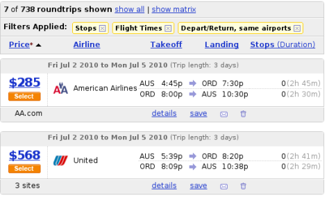 AA Flight - $285. United flight - $568